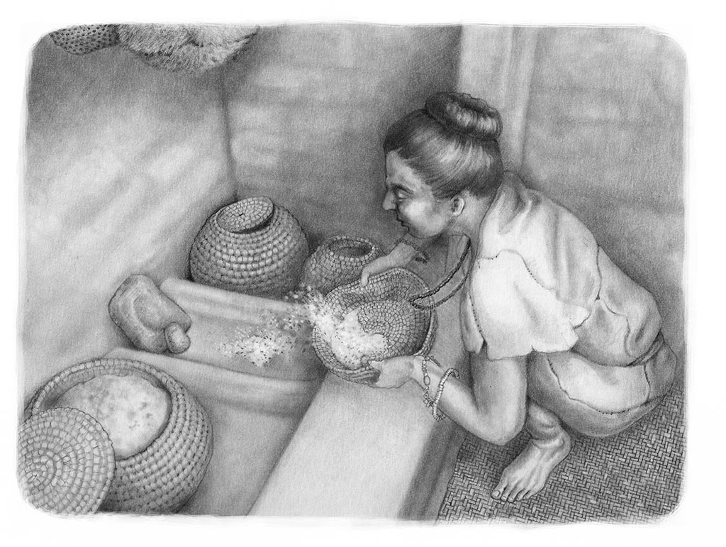 A reconstruction of a woman at Ҫatalhӧyük using baskets. Illustrated by Kathryn Killackey.