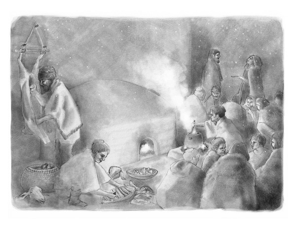 A reconstruction of the activities that occurred within a typical house at Çatalhöyük. Illustrated by Kathryn Killackey.