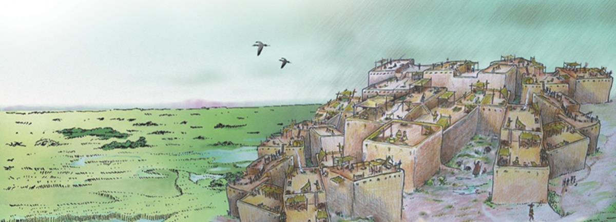 Reconstruction of the settlement in its wider landscape. Illustrated by John Swogger.