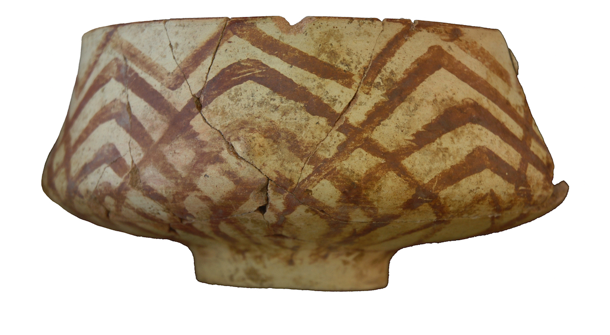 Example of a painted pot found on the West Mound. Photo by Ingmar Franz.