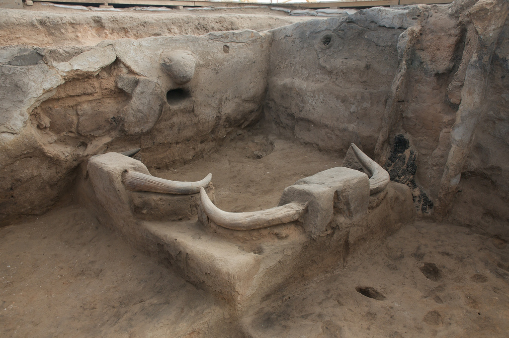 A photograph showing a house platform at Çatalhöyük with bull horn installations and hand prints on the wall.